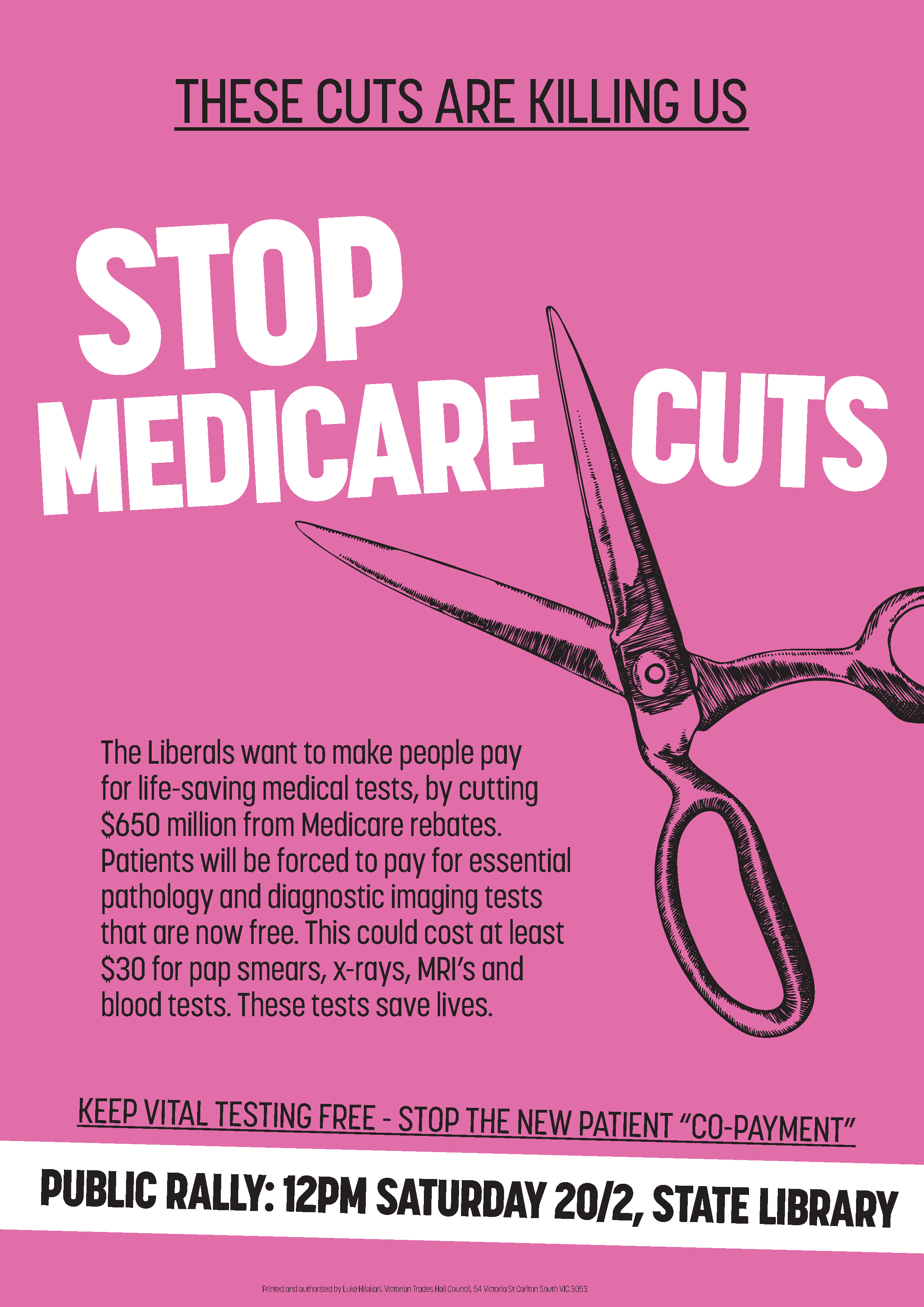 Medicare cuts rally poster portrait pale pink